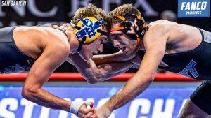 acc wrestling dual rankings for 2021 preseason; photo of pitt vs virginia tech at acc championships
